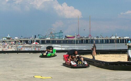 go karts at schiffs central pier, atlantic city, new jersey
