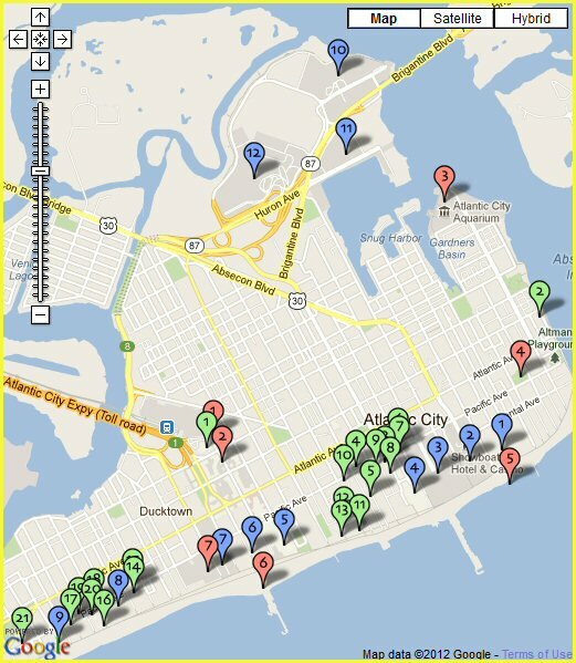 Atlantic City Map Atlantic City Hotels Map   All Hotels & Motels Atlantic City Map